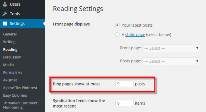 Blog Page Settings