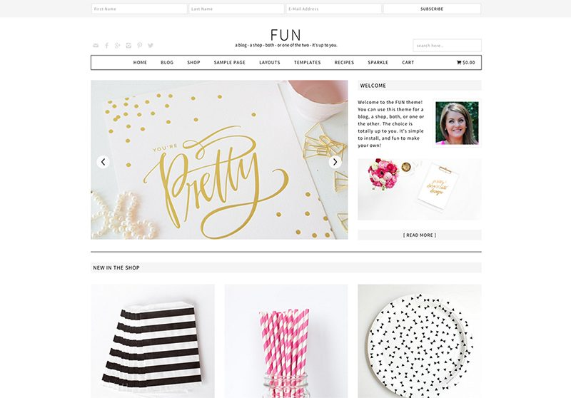Best Feminine WordPress Themes For Bloggers & Female Entrepreneurs Fun Premium WordPress theme by Pretty Darn Cute Design