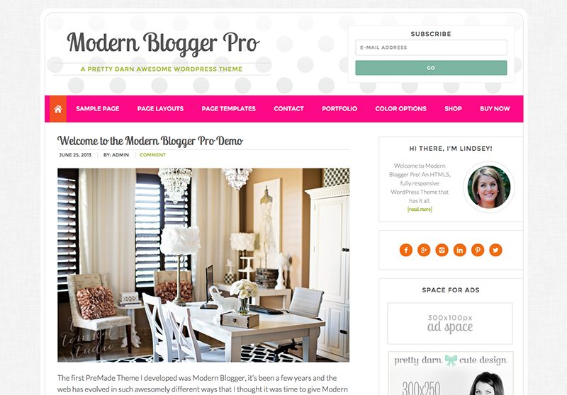 Best Feminine WordPress Themes For Bloggers & Female Entrepreneurs Modern Blogger Premium WordPress theme by Pretty Darn Cute Design