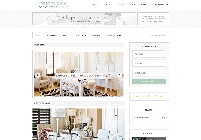 Best Feminine WordPress Themes For Bloggers & Female Entrepreneurs Pretty Chic Premium WordPress Theme by Pretty Darn Cute Design