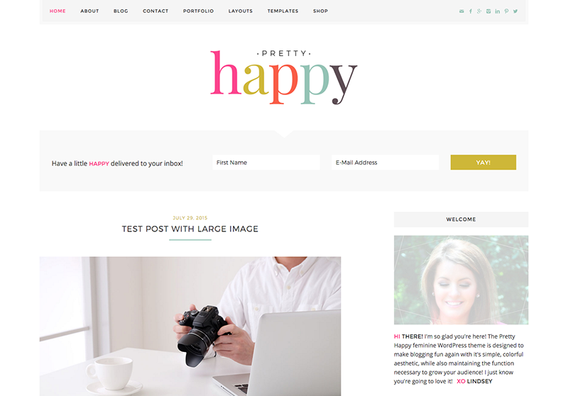 Best Feminine WordPress Themes For Bloggers & Female Entrepreneurs Pretty Happy Premium WordPress theme by Pretty Darn Cute Design