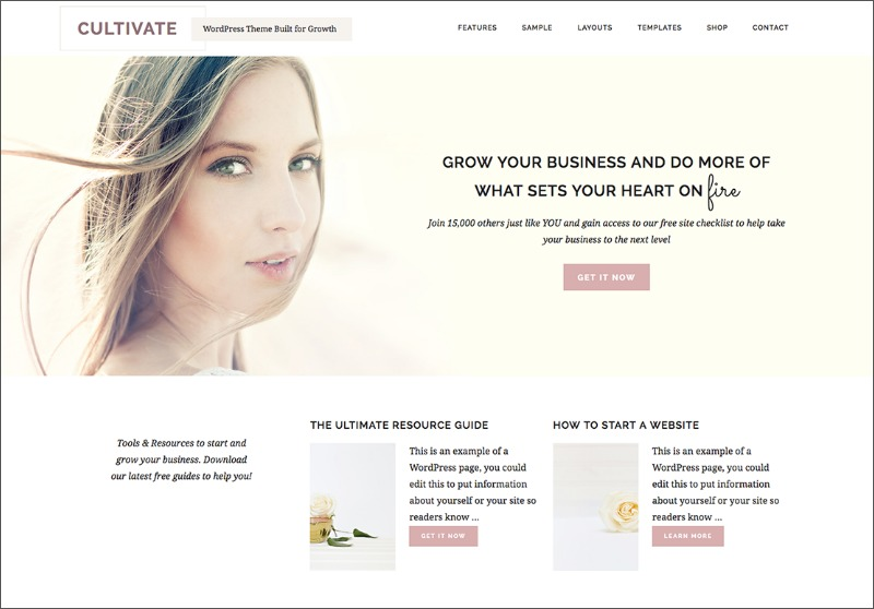 Best Feminine WordPress Themes For Bloggers & Female Entrepreneurs Cultivate Premium WordPress theme by Restored 316