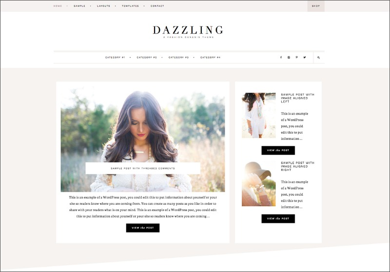 Best Feminine WordPress Themes For Bloggers & Female Entrepreneurs Dazzling Premium WordPress theme by Restored 316
