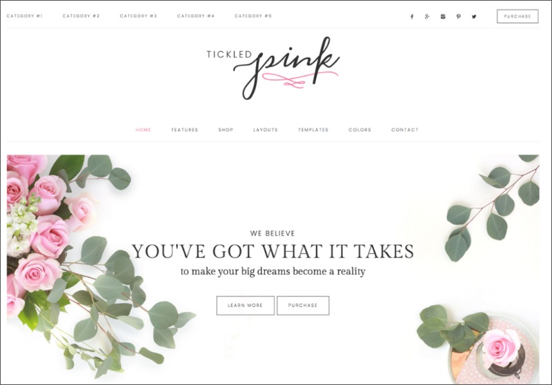 Best Feminine WordPress Themes For Bloggers & Female Entrepreneurs Tickled Pink Premium WordPress theme by Restored 316