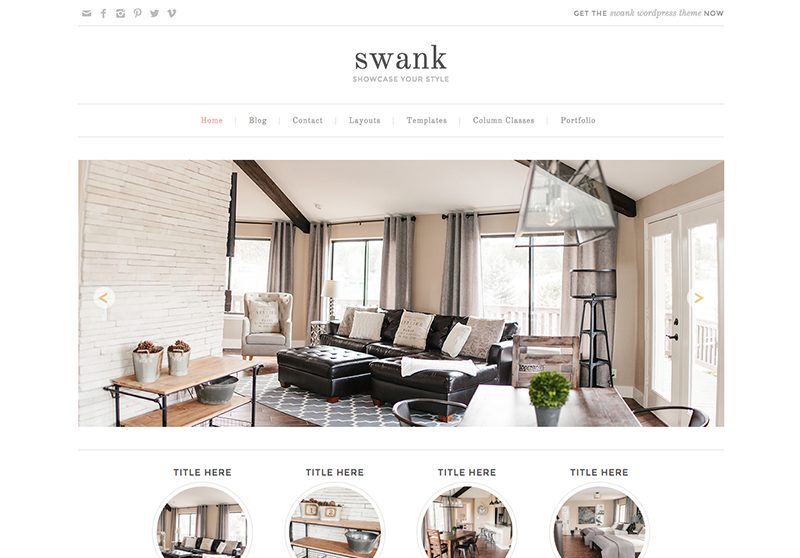 Best Feminine WordPress Themes For Bloggers & Female Entrepreneurs Swank Premium WordPress theme by Pretty Darn Cute Design