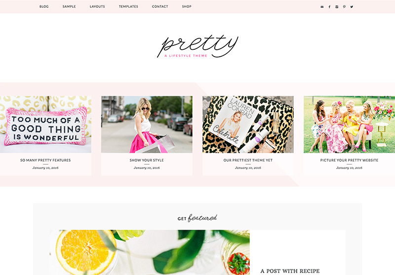 Best Feminine WordPress Themes For Bloggers & Female Entrepreneurs Pretty Premium WordPress Theme by Pretty Darn Cute Design