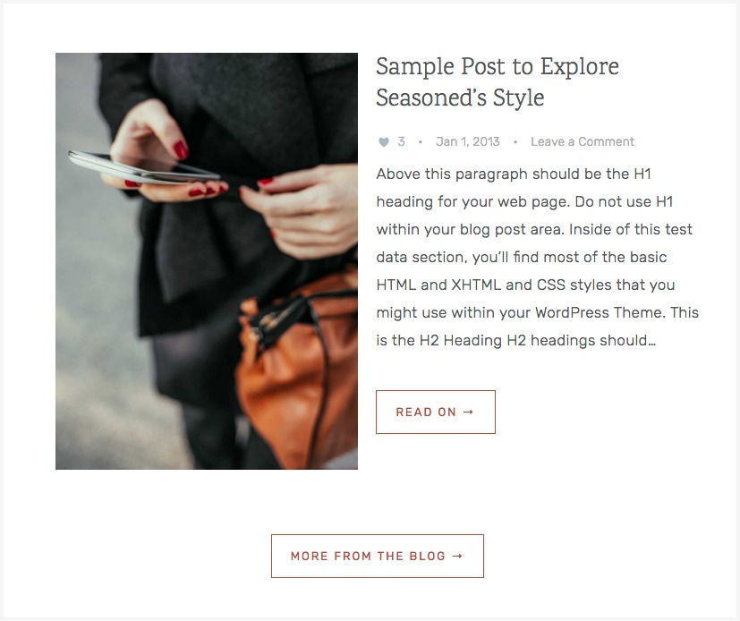 Seasoned Pro - Add a link to the blog page from home page widgets