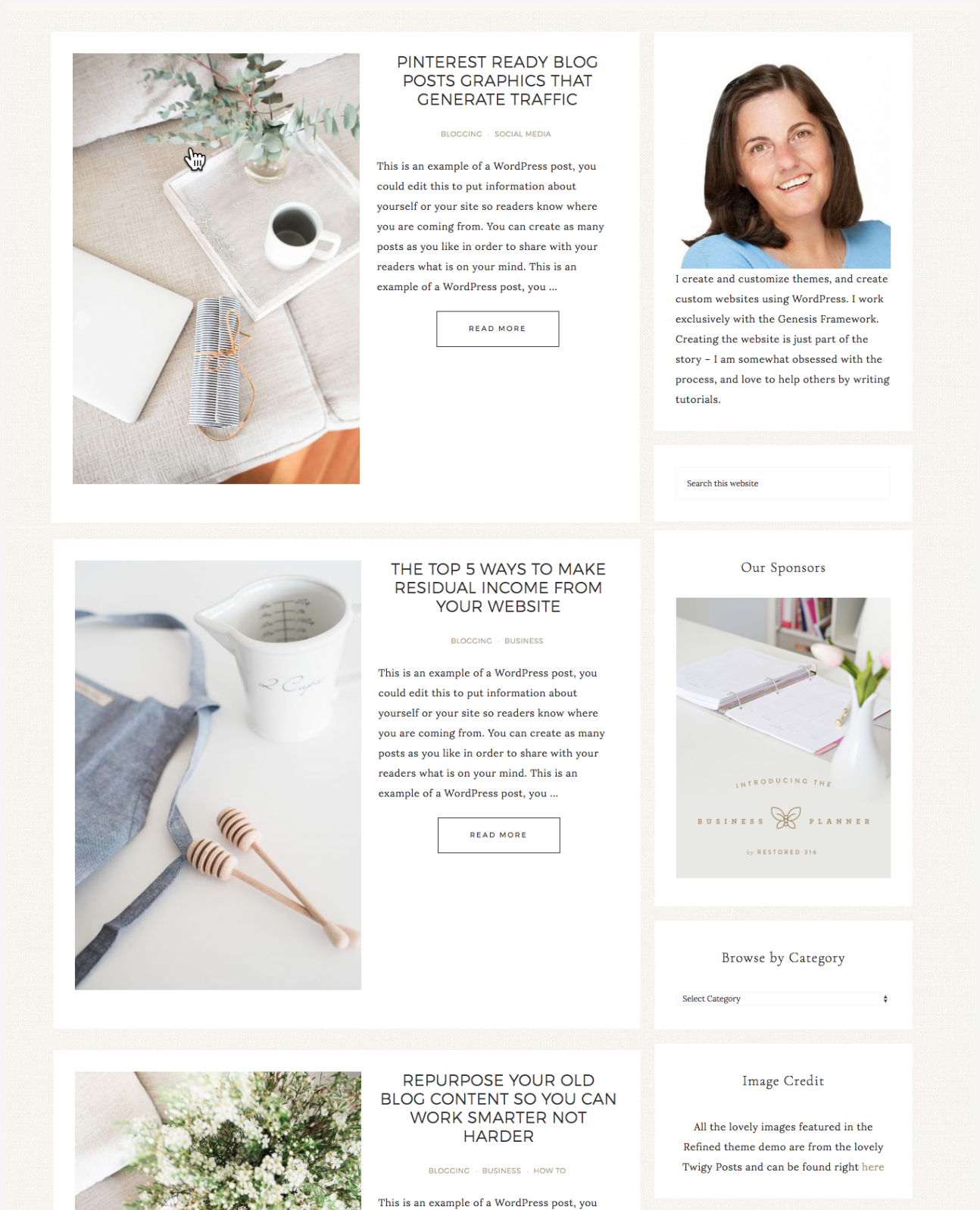 Link to Categories in Front Page 1 of the Refined Theme
